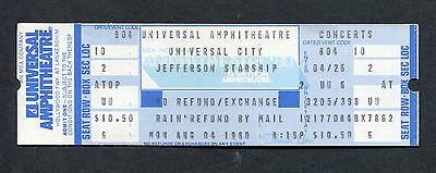 1980 Jefferson Starship concert unused full ticket Universal City Miracles