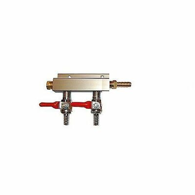 """2 Way CO2 Distribution Block Manifold Splitter with 1/4"""" Barbs - High Quality"""