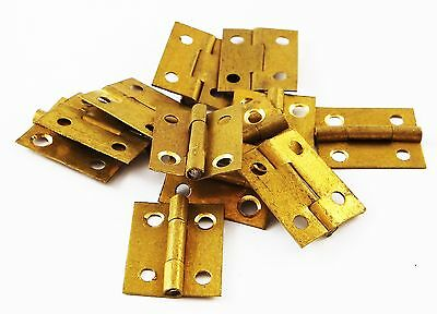 1.9cm High brass hinges clock case repairs parts clockmakers dolls house 12pcs