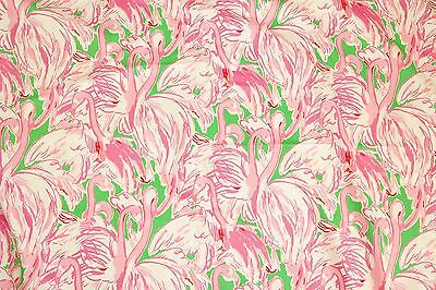 Lilly Pulitzer Dobby Cotton Fabric ~ Prep Green Pink Colony~ 1 yard