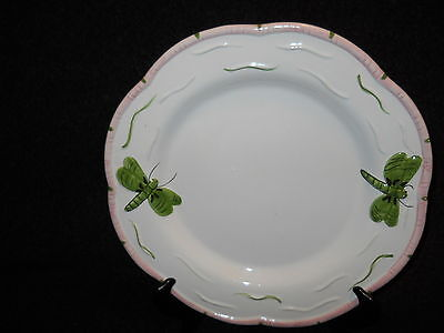 essex collection butterfly pond collection dinner plate pink  trim