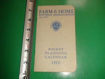 JB949 Vintage 1970 Farm & Home Savings Assoc. Pocket Planning Calendar