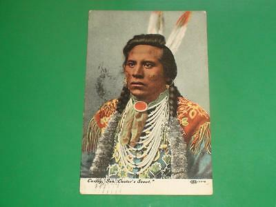 ZI120 Vintage 1908 Postcard Indian Curley General Custer's Scout Oklahoma PM