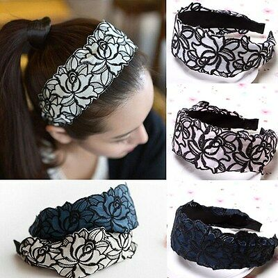 Fashion Women Lace Head Band Elegant Wide Bow Girl Hair Accessories Hair Jewelry