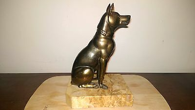 So Art Deco! French Art Deco bronze hound on marble base signed Jamar - reduced!