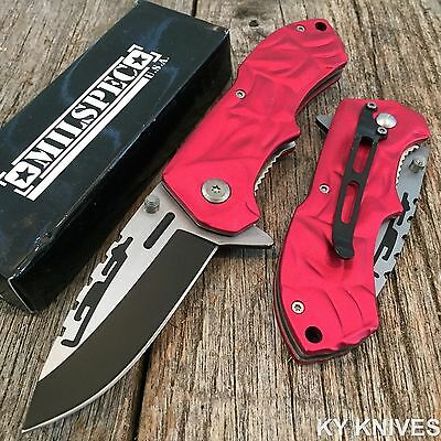 """MILSPEC 7.5"""" Green Assisted Open Tactical Rescue Pocket Knife NEW 8344-RD"""