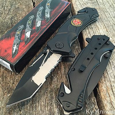 FIRE DEPT. Spring Assisted Opening Tactical BLACK Military Rescue Pocket Knife