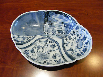 A charming Japanese blue and white asymmetrically moulded lobed dish, c1690-1730