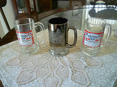 Lot of 3 Vintage  Budweiser Glass Mugs One is A Bud Light Chrome Fade To Glass