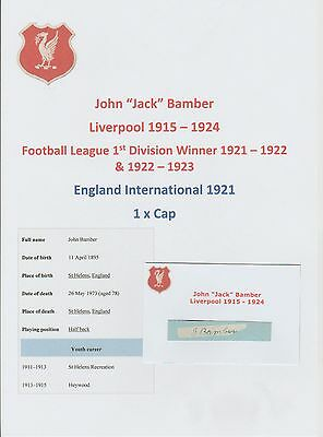 Jack Bamber Liverpool 1915-1924 Extremely Rare Original Hand Signed Cuttingcard