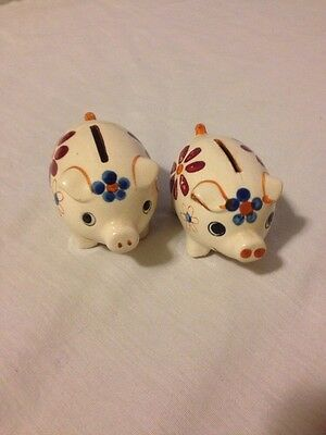 """PAIR OF VINTAGE PORCELAIN PIGGY BANK - MADE IN """"OCCUPIED JAPAN"""" 3"""" LONG"""