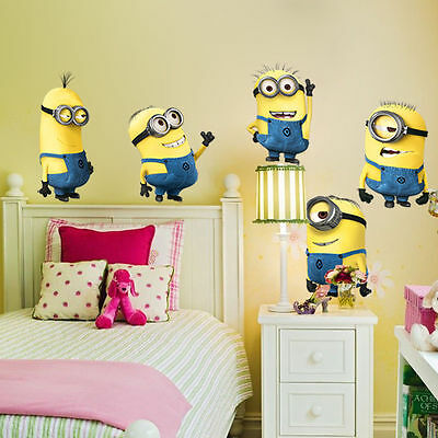 Minions Despicable Me 2 Removable Wall Stickers Decal Room Decor Kids Room Mural