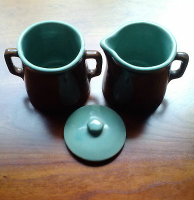 Louisville Pottery John B Taylor COUNTRY FARE Stoneware Creamer, Sugar Bowl, Top