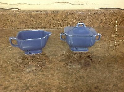 Vintage W S George Petal Ware Blue Creamer And 2 Handled Sugar With Lid