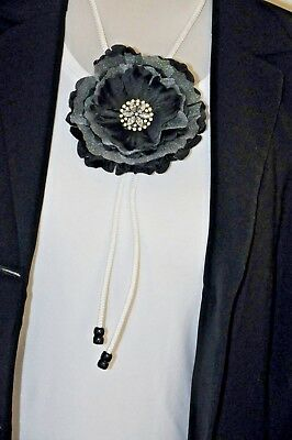 "Unique Handmade 1-of-a-Kind 4.5"" Black & White Peony Silk Flower BOLO Slide Tie"