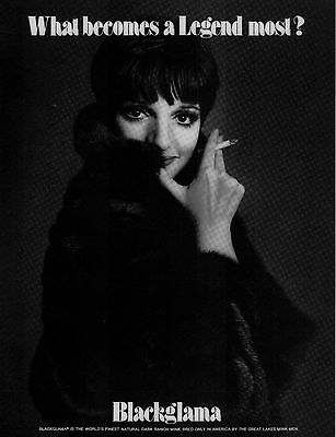 Vintage BLACKGLAMA Print Ad with LIZA MINELLI - VG Condition