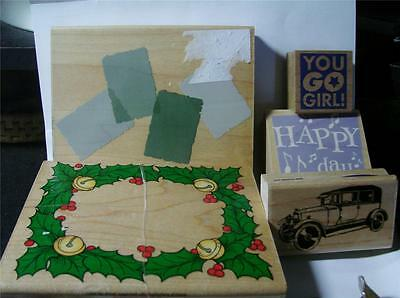 HERO HEARTS VINTAGE CAR H'BIRTHDAY YOU GO GIRL TOTAL 5 WOODEN STAMPS NEW