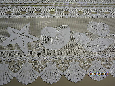 WHITE LACE CAFE KITCHEN CURTAIN SHELLS BEACH HOUSE selling per mt