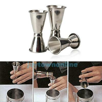 3 Pc Cocktail Wine Drink Mixer Measuring Cup Jigger Measurer Set Stainless Steel
