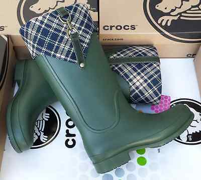 72bd5a8d6 CROCS BRIDLE WELLIE PLAID JAUNT GEORGIE RAIN BOOTS SHOE~Green Blue~Women 9~