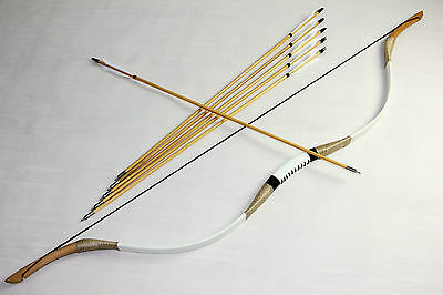 Handmade 60lbs Archery mongolian Cow Leather traditional longbow recurve bow