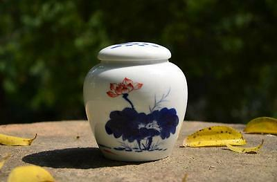 Hand Painted Lotus * Blue And White Porcelain Ware Tea Caddy Containers