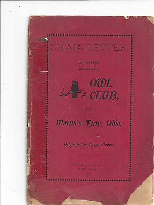 Chain Letter, Owl Club of Ohio, 1899, rare Find!!!!  Take a Look Lot 14