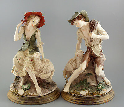 CAPODIMONTE  G. Armani pair of large and heavy figurines of shepherds