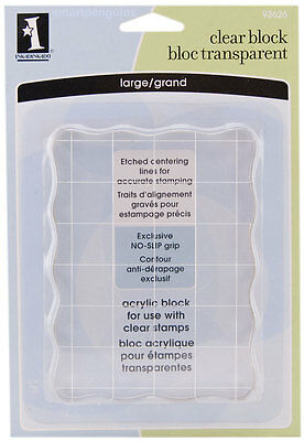Inkadinkado Clear Acrylic Stamp Stamping Block Large Etched Centering Lines