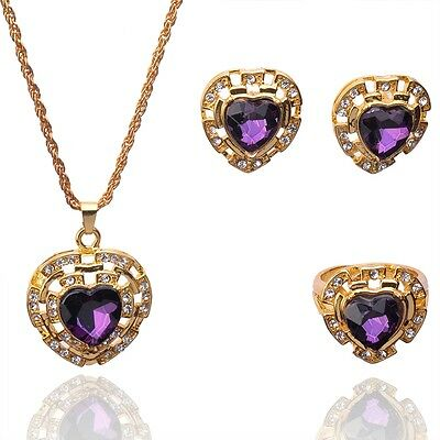 Fashion Wedding 14k Gold Filled Austrian Crystal Necklace Earring Ring Set B157