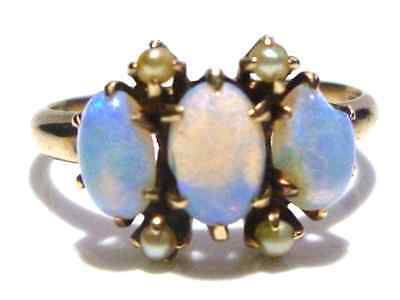 Victorian Marked 10K Yellow Gold Opal & Seed Pearl Estate Ring Size 5.25