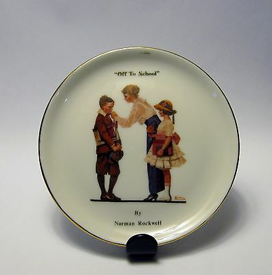 """Bavaria,Vohenstrauss,""""Off to School"""" by Norman Rockwell mini plate"""