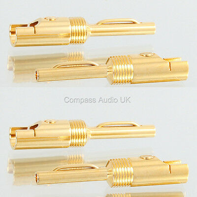 4 GOLD 4mm BANANA PLUGS 6mm Large Cable Entry Speaker Cable/Bi-wire & Heatshrink