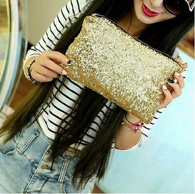 Chic Lady Bling Party Sparkling Handbag Clutch Tinsel Paillette Evening Bag - 6A