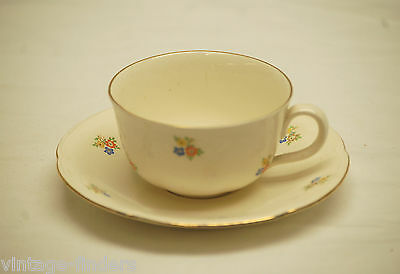 Old Vintage Cup & Saucer Set w Flower Pattern Design & Gold Trim ~ Denmark