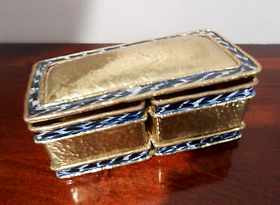 Brutalist Signed Luciano Mecheon BRASS BOX Mexico Vintage Hinged - Enamel Trim