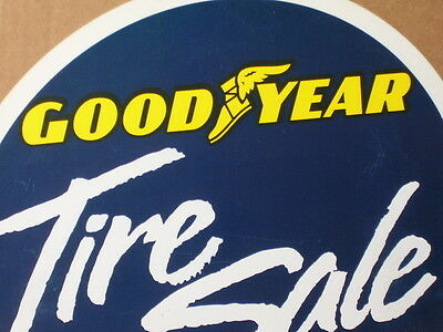 GOODYEAR - Tire Sale --- BIG Round Sign --- Shows their Famous Winged Foot Logo
