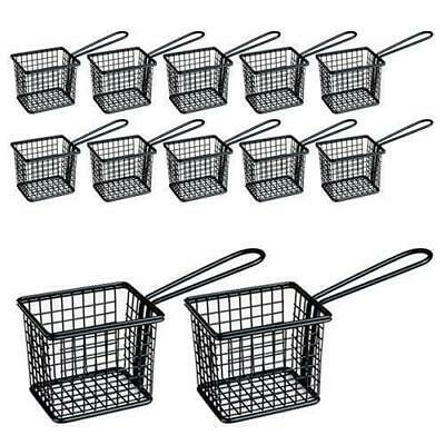 12x Fryer Style Serving Basket 78x94mm, Black, Chips / Fries / Sides / Tapas