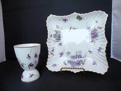 Hammersley Victorian Violets Egg Cup and Candy / Bon Bon Dish