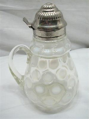 Antique 1881 Patent Top Opalescent Coin Dot Spot Northwood Glass Syrup Pitcher