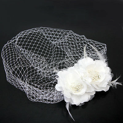 White Net Face Veil Wedding Bridal Fascinator Birdcage Feather Flower With Comb