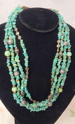 Antique AMERICAN Art Sterling Silver & Turquoise Hand Made Necklace