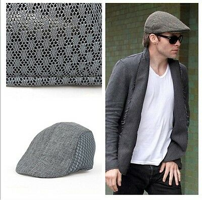 Cool Men's Breathable Mesh Opening Outdoors Golf Baker Racing Hat Flat Caps - 6A