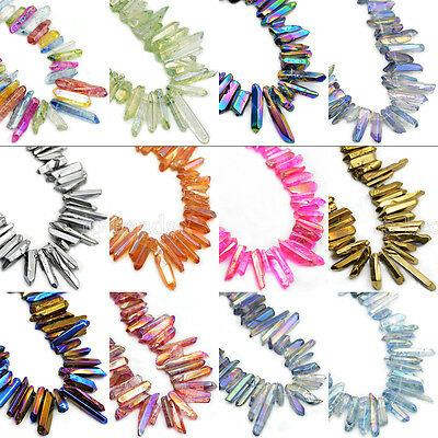 "Natural Druzy Quartz Metallic Titanium Coated Stick Charm Beads 7.5"" Jewelry"