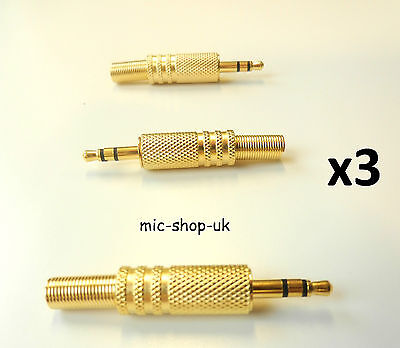 3.5 mm Jack Plug Stereo Gold Plated Solder Connector Headphone repair x 3
