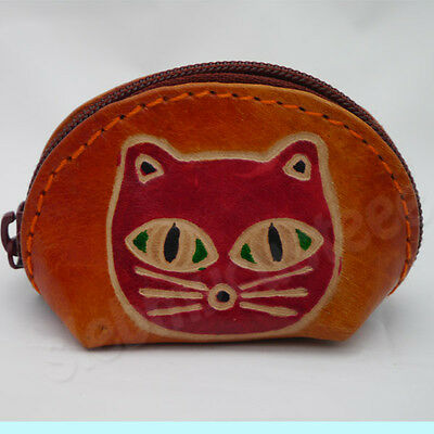 New Small Orange Brown Cat Coin Bag Purse Pouch Kid Cute Nice Gift Free Ship