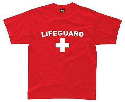 LIFEGUARD Mens T-Shirt S-3XL Red Printed Funny Fancy Dress Costume Outfit Beach