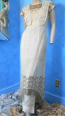 NET LACE EMBROIDERED GOWN - METALLIC THREAD & BEADING - GORGEOUS - NEEDS REPAIR