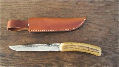 SUPERB Custom Vintage FORGECRAFT Carbon Steel Hunting Knife w/Stag - RAZOR SHARP