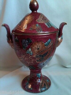 Cloissone Handpainted Gold Embellished Ceramic Urn with Lid